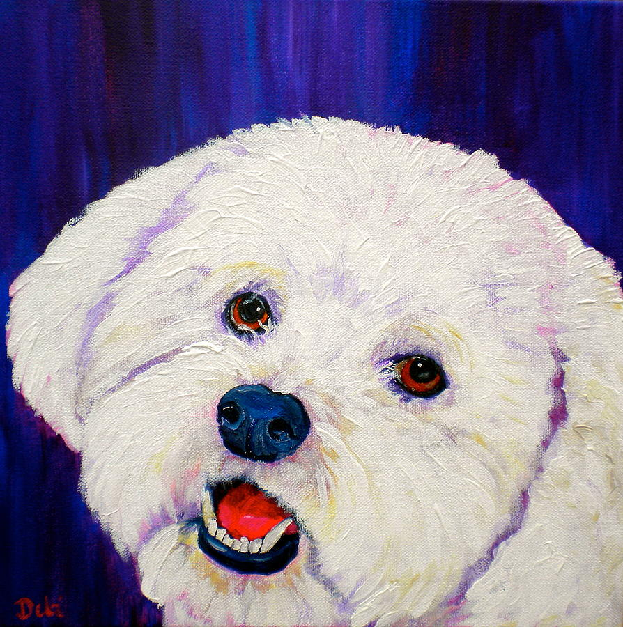 Bichon Frise Dog Painting - Buffy by Debi Starr