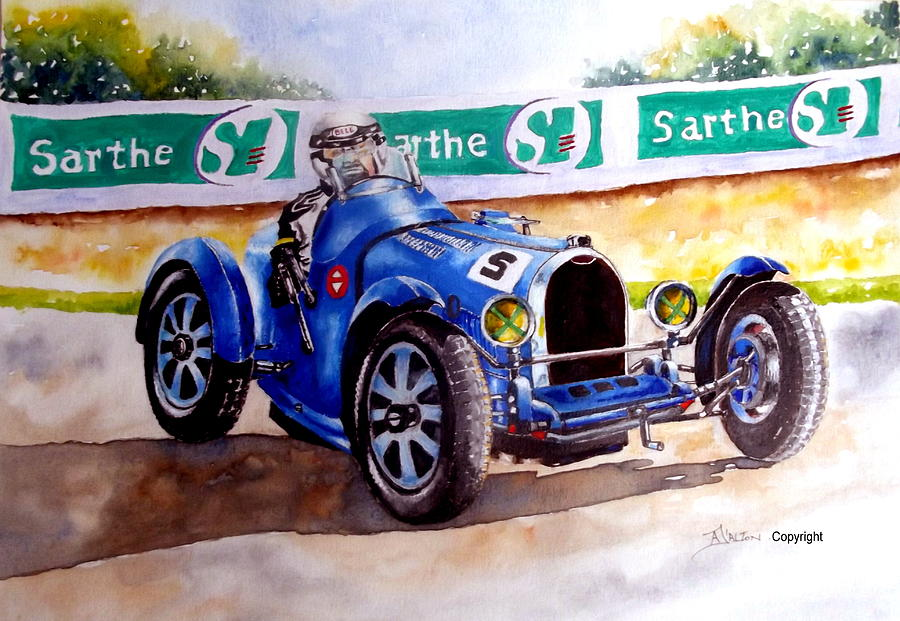 Le Mans Painting - Bugatti 35b by Anne Dalton