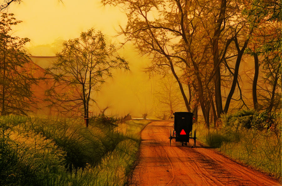 Amish Photograph - Buggy On A Sunday Morning Drive Batik by Laura James