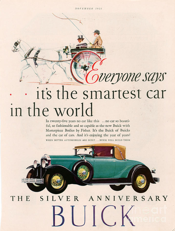 Advert Drawing - Buick 1928 1920s Usa Cc Cars Horses by The Advertising Archives