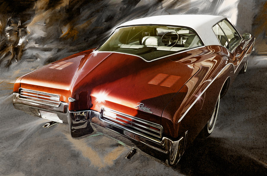 Car Enthusiast Digital Art - 1971 Buick Riviera In Maroon by Garth Glazier