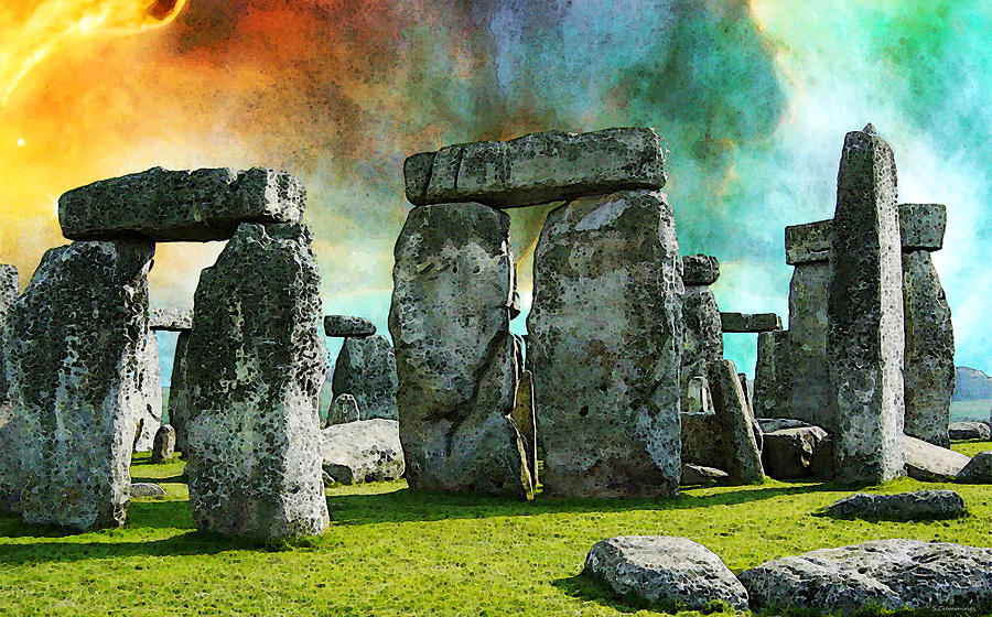 Stonehenge Painting - Building A Mystery - Stonehenge Art By Sharon Cummings by Sharon Cummings