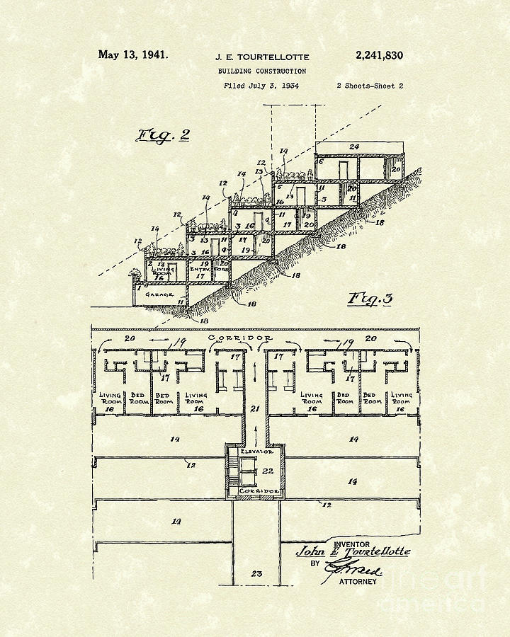 Tourtellotte Drawing - Building Construction 1941 Patent Art by Prior Art Design