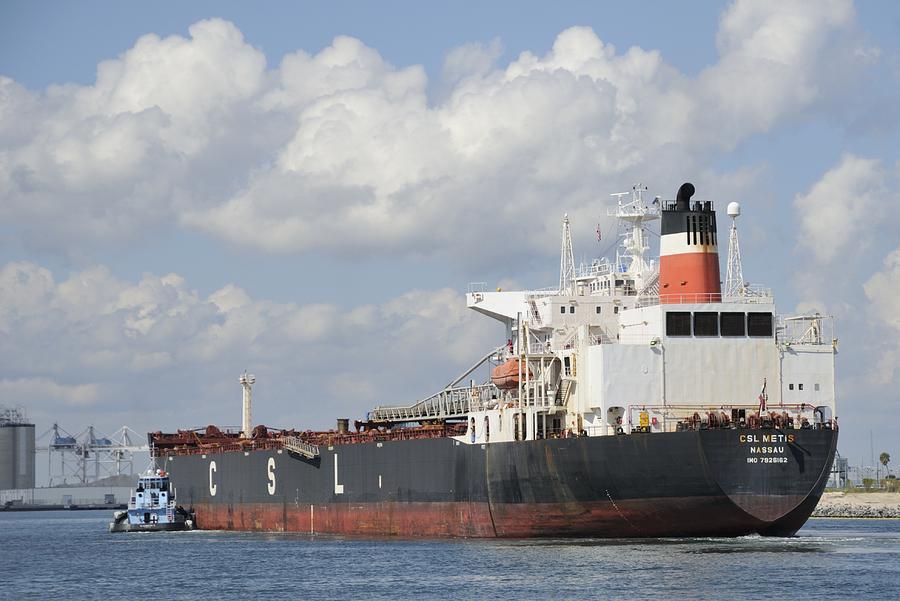 Cargo Ship Photograph - Bulk Cargo Ship Arriving At Port. by Bradford Martin