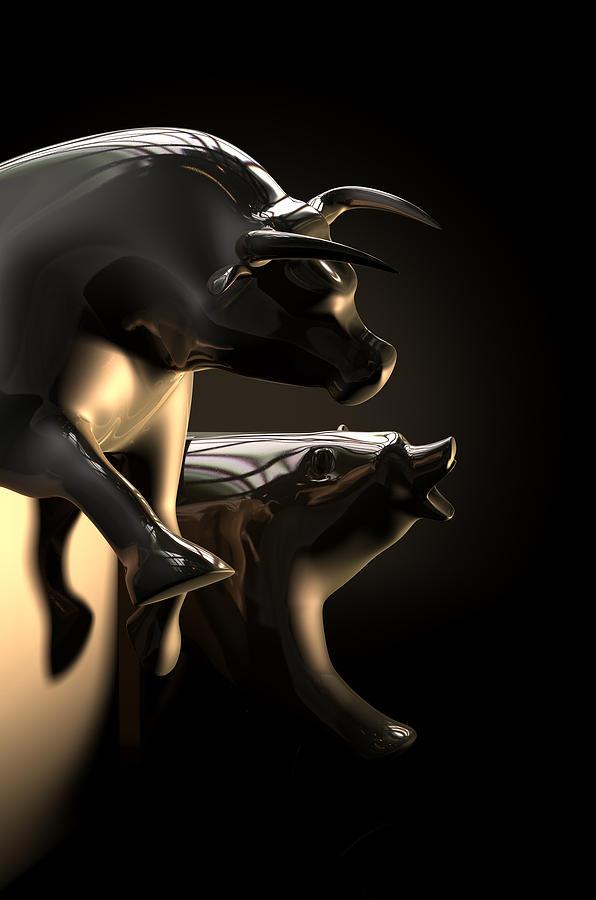 Bull Market Digital Art - Bull And Bear Stock Market Statues by Allan Swart
