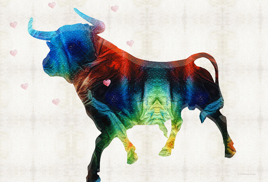 Bull Painting - Bull Art - Love A Bull 2 - By Sharon Cummings by Sharon Cummings