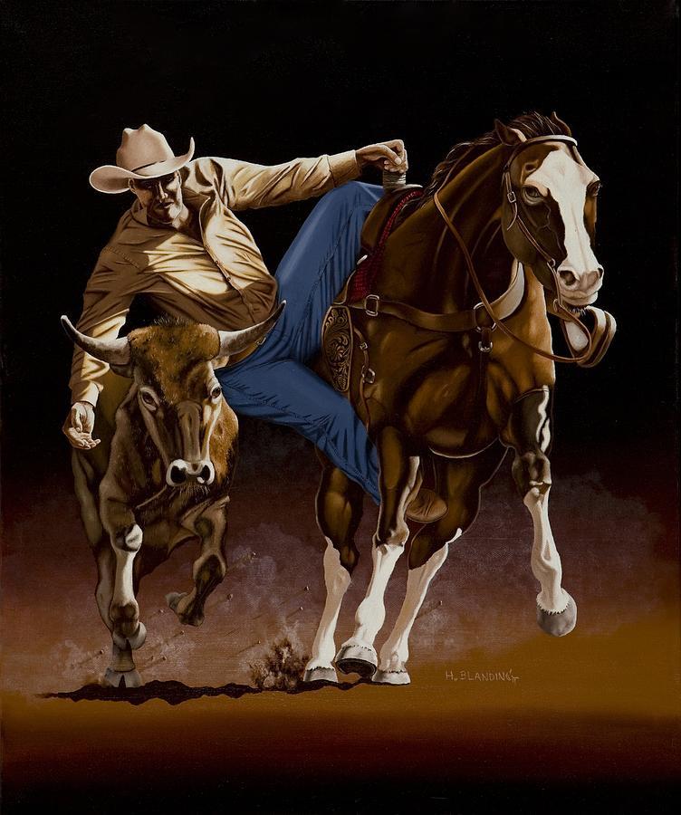 Roper Painting - Bull Doggin by Hugh Blanding