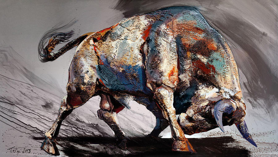 Bull Painting - Bull Fight Back by Dragan Petrovic Pavle