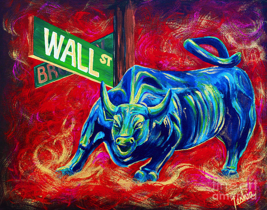 Wall Street Painting - Bull Market by Teshia Art
