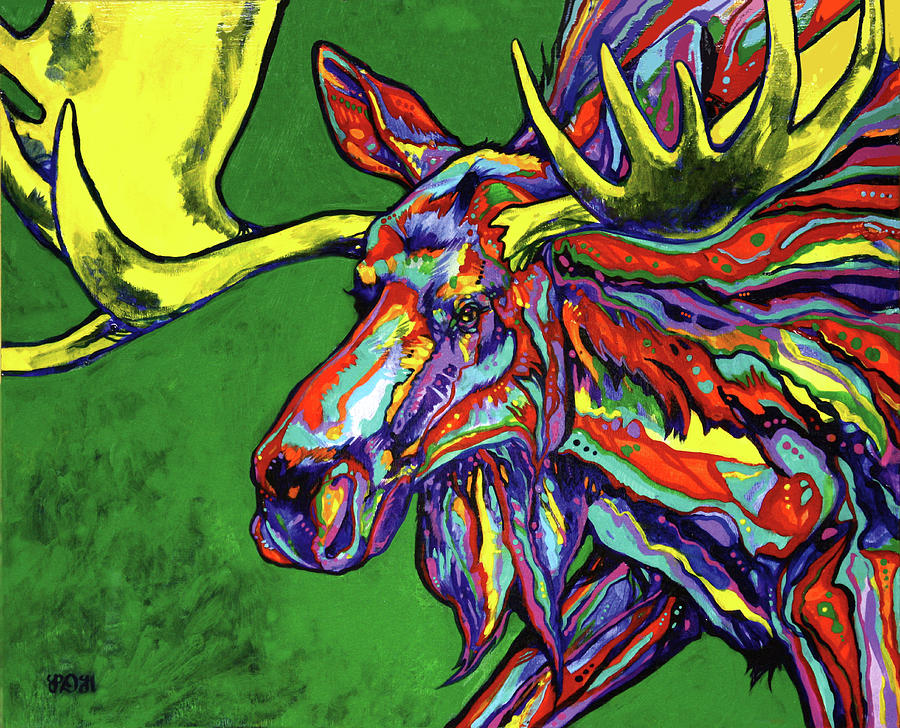 Contemporary Painting - Bull Moose by Derrick Higgins