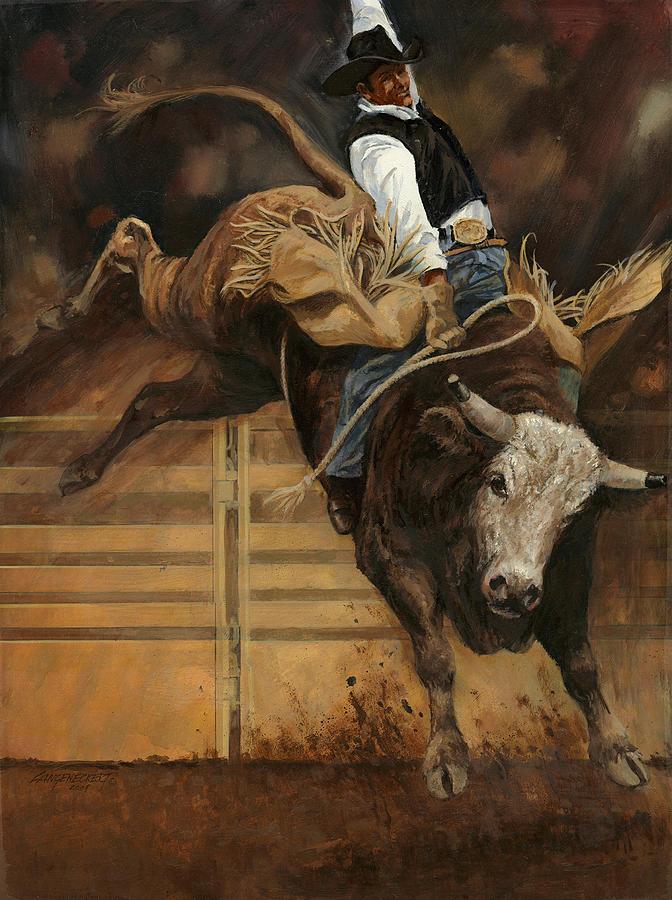 Bull Riding 1 Painting By Don Langeneckert