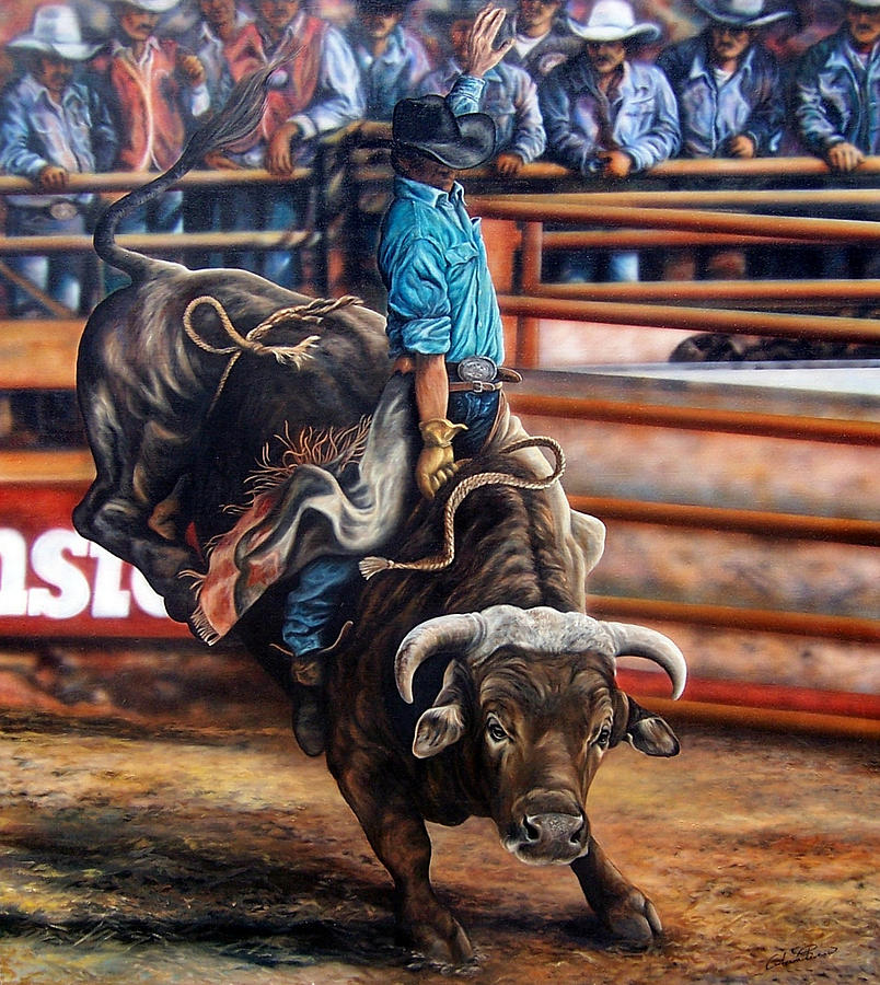 Bull Riding Painting By Glenda Stevens