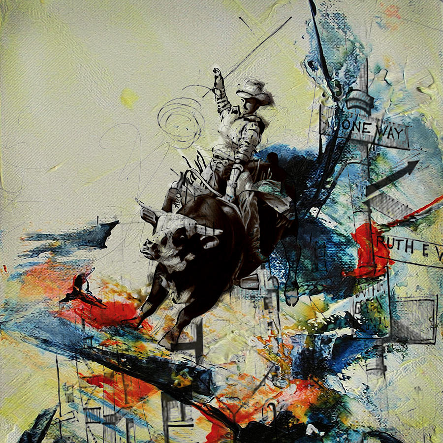 Bull Rodeo Painting - Bull Rodeo 02 by Corporate Art Task Force