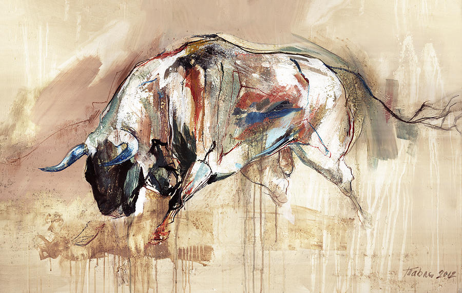 Bull Run Painting By Dragan Petrovic Pavle