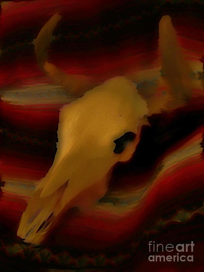 Animals Digital Art - Bull Skull One by John Mlaone