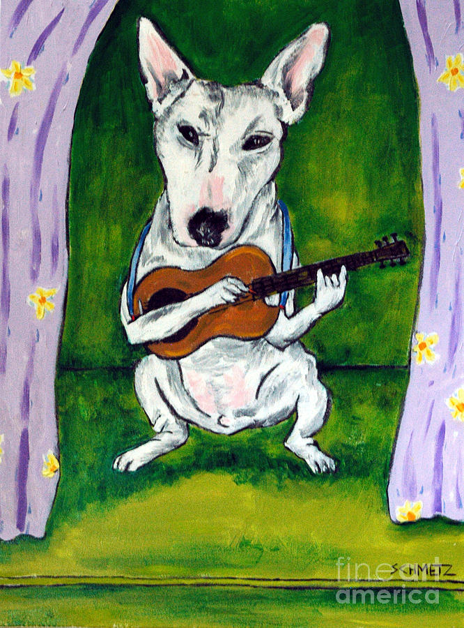 Bull Terrier Painting - Bull Terrier Playing Guitar by Jay  Schmetz