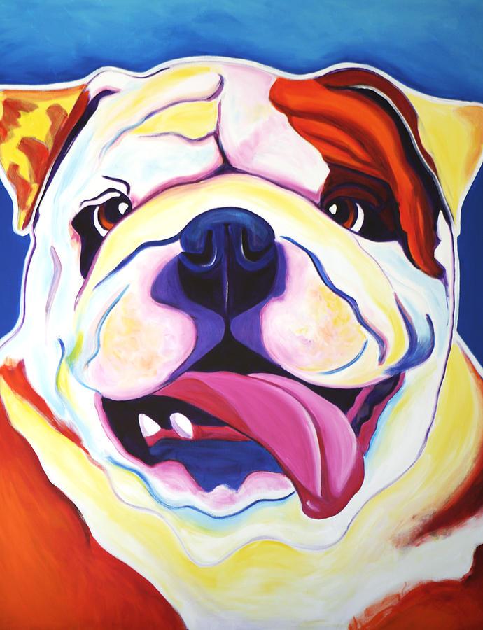 Bulldog Painting - Bulldog - Grin by Alicia VanNoy Call