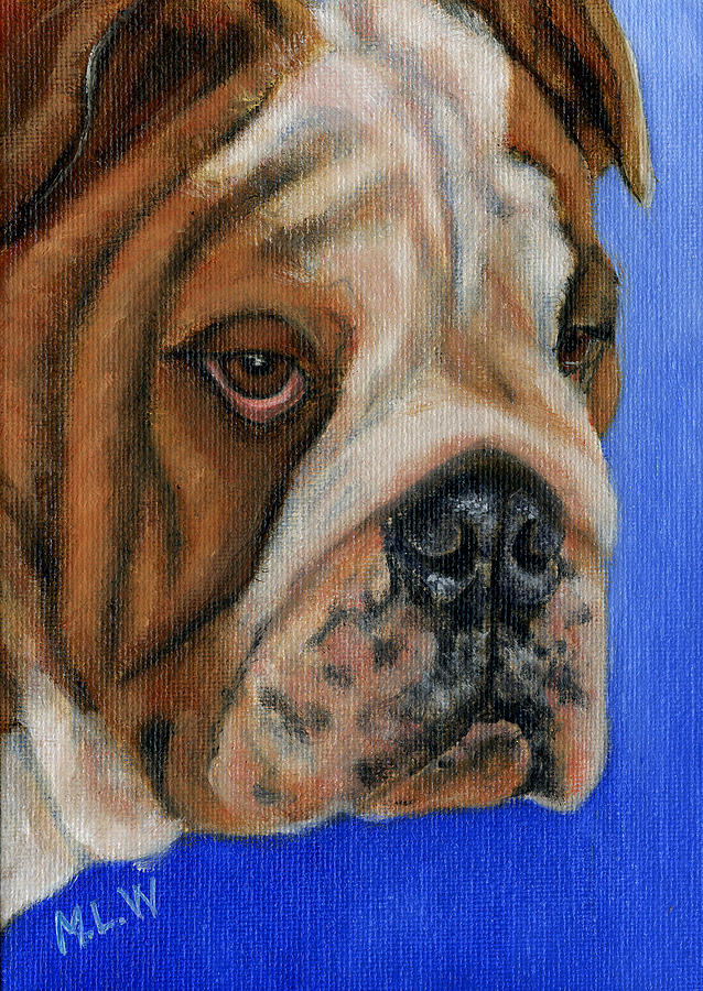 Bulldog Painting - Beautiful Bulldog Oil Painting by Michelle Wrighton