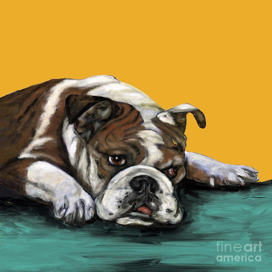 Bull Dog Painting - Bulldog On Yellow by Dale Moses