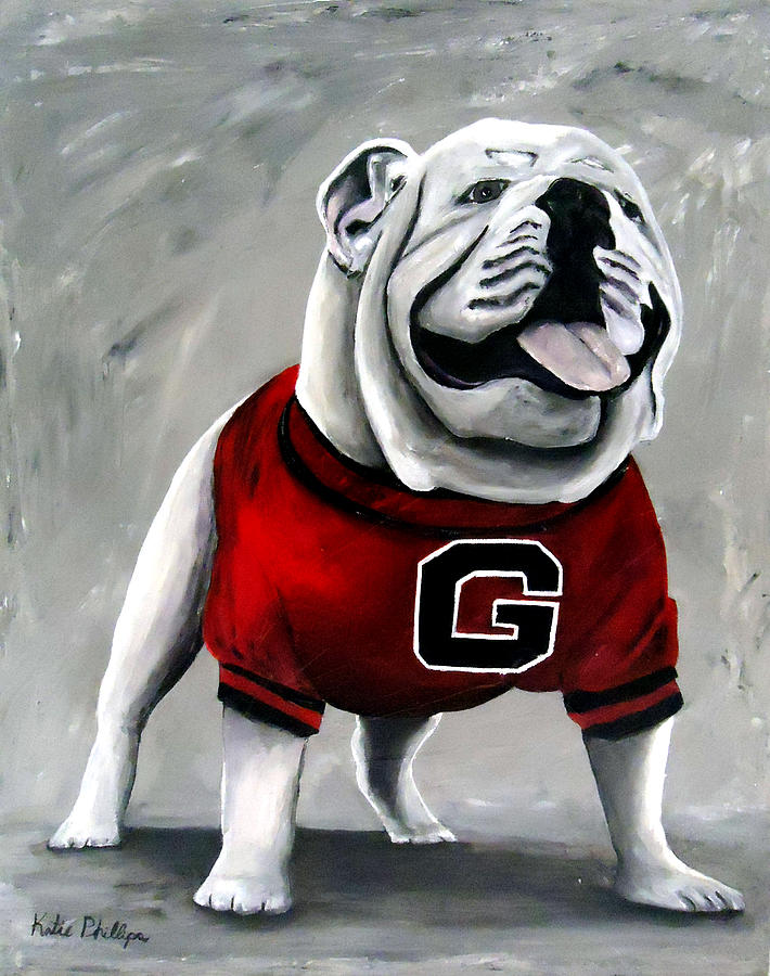 University Of Georgia Painting - UGA Bulldog College Mascot Dawg by Katie Phillips