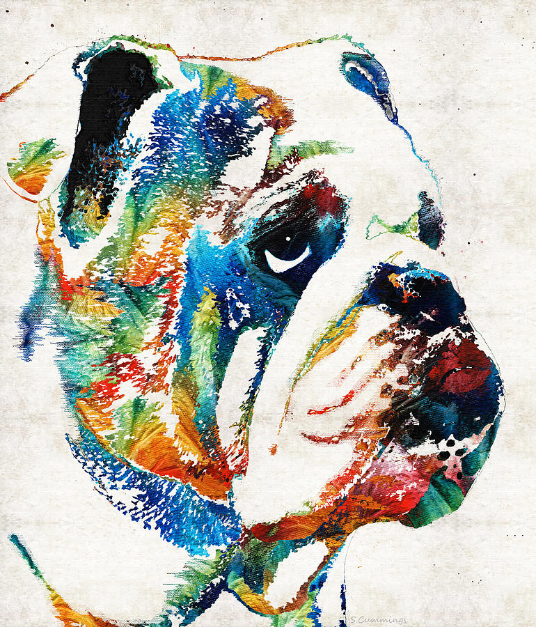Dog Painting - Bulldog Pop Art - How Bout A Kiss - By Sharon Cummings by Sharon Cummings