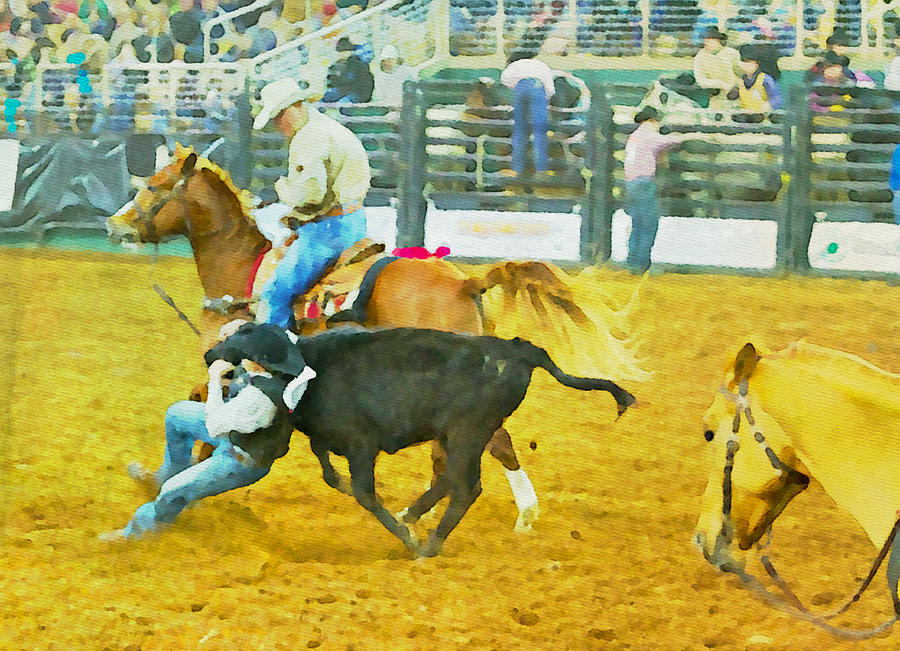 Steer Wrestling Photograph - Bulldoggin Cowboys by Alice Gipson