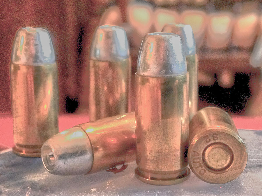 Bullet Photograph - Bullet Art Hollow Point Soft Gold by Lesa Fine