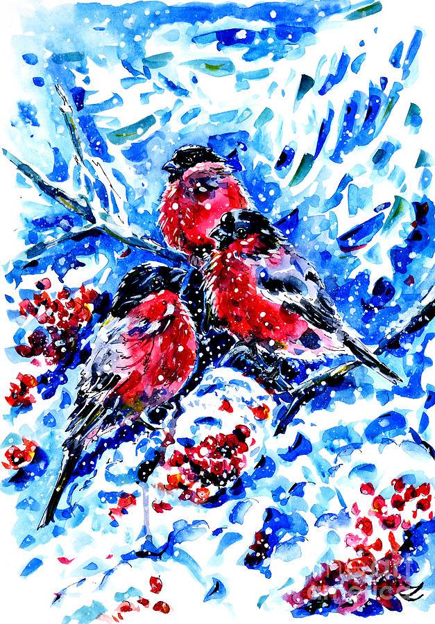 Bullfinches Painting - Bullfinches by Zaira Dzhaubaeva