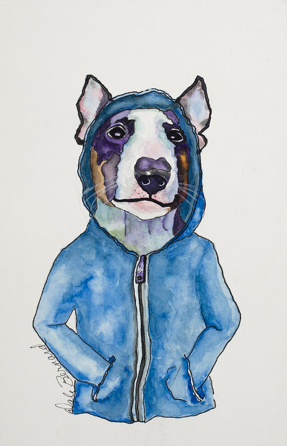 English Bull Terrier Painting - Bully For The Hoodie by Dale Bernard