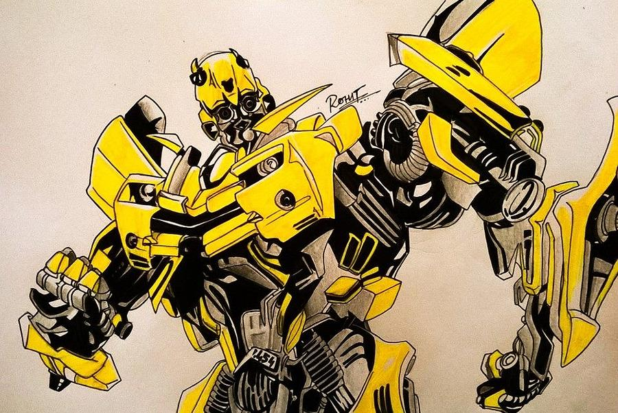 Bumblebee Transformers Painting by Rohit Bhattacharya