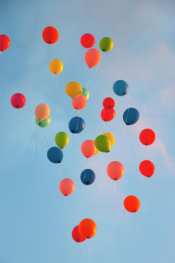 Bunch Of Balloons Floating In Sky Photograph by Henglein And Steets
