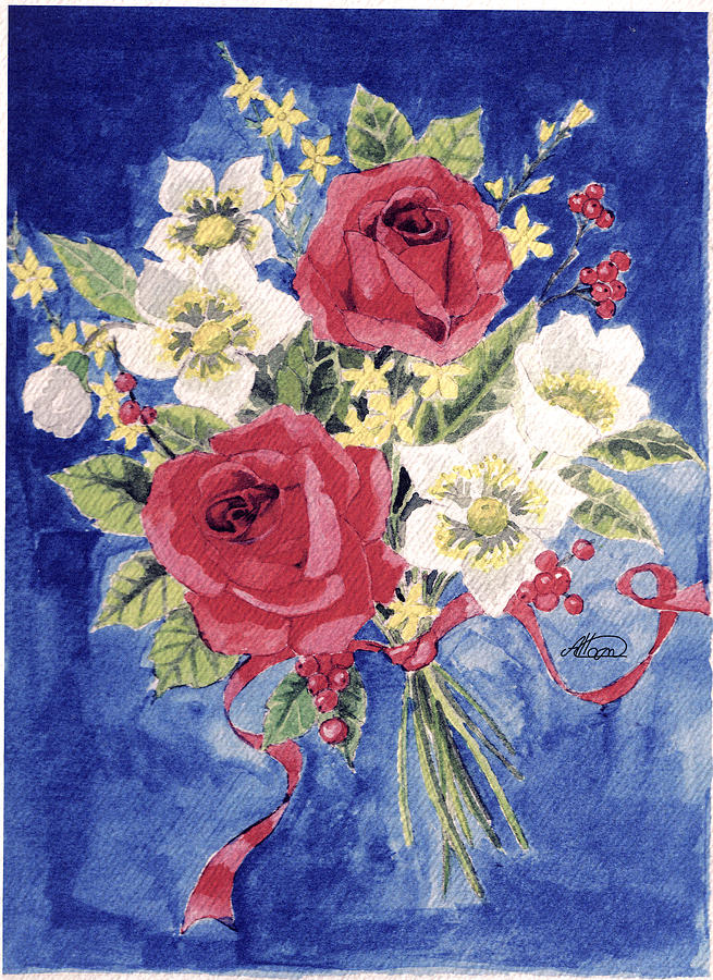 Bunch Of Flowers Painting - Bunch Of Flowers by Alban Dizdari