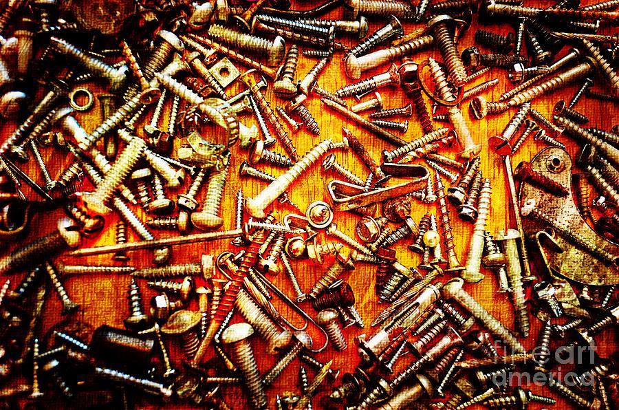 Metal Photograph - Bunch Of Screws 4 - Digital Effect by Debbie Portwood