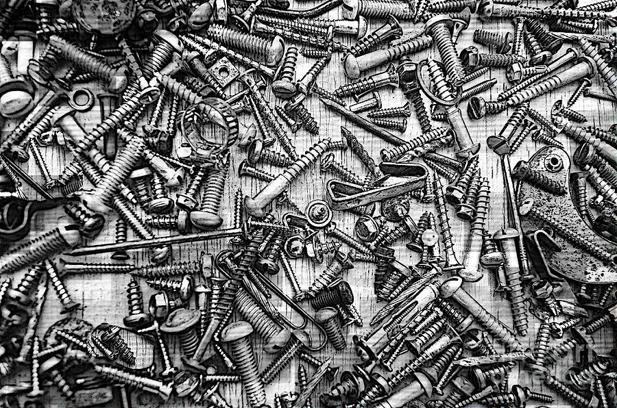 Metal Photograph - Bunch Screws 2 - Digital Effect by Debbie Portwood