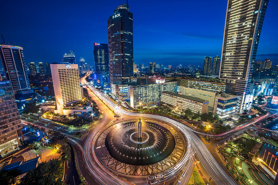 Bundaran Hotel Indonesia Hi Blue Hour Photograph by Abdul Azis