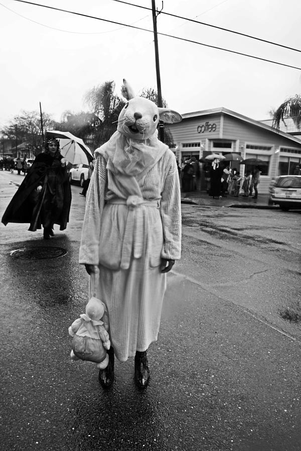 Bunny Photograph - Bunny Head In The Rain On Mardi Gras Day by Louis Maistros
