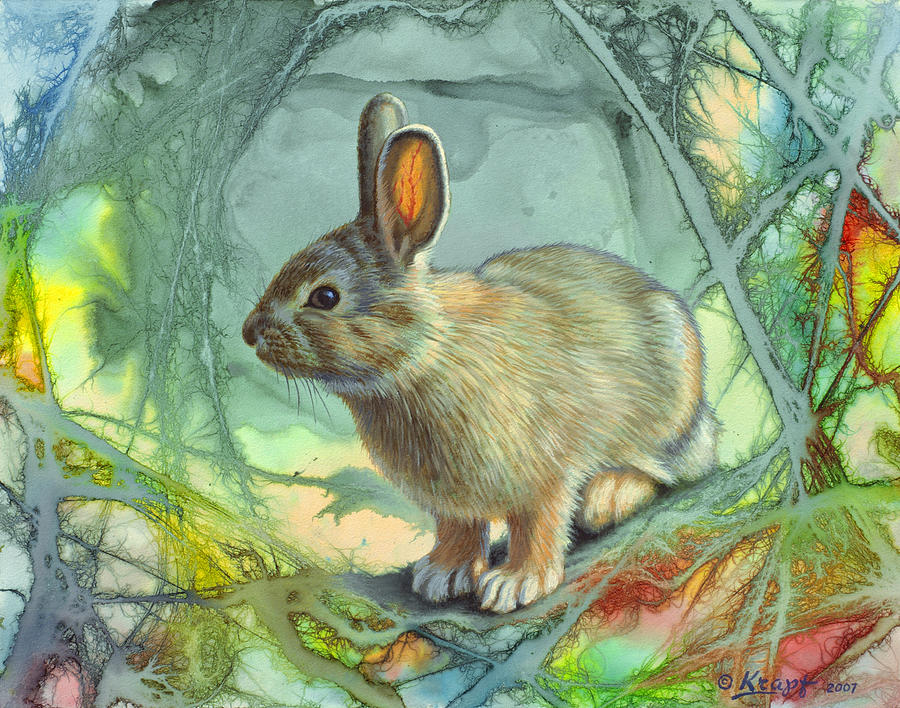 Wildlife Painting - Bunny In Abstract by Paul Krapf