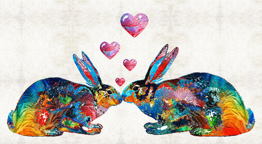 Rabbit Painting - Bunny Rabbit Art - Hopped Up On Love - By Sharon Cummings by Sharon Cummings