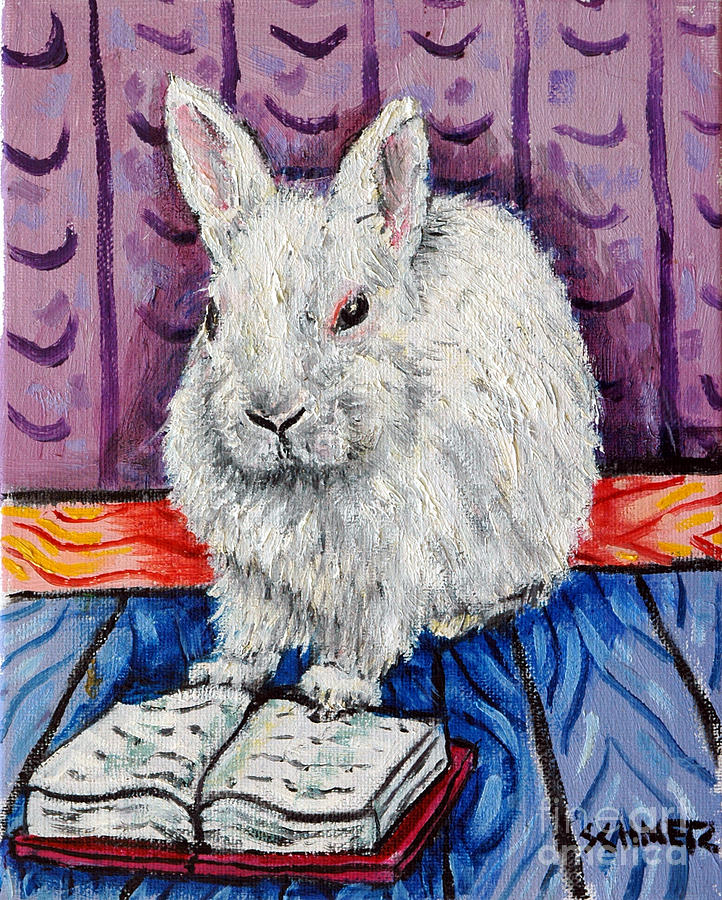 Bunny Painting - Bunny White Rabbit Reading A Book by Jay  Schmetz