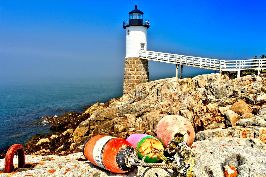 Maine Lighthouse Photograph - Buoys At The Headlight by Adam Jewell