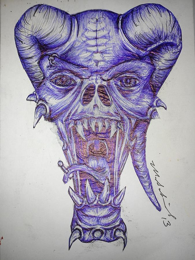 Burama Drawing by Michael Schimank