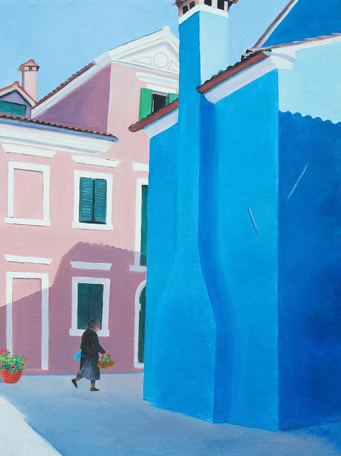 Burano Painting - Burano Venice Street Scene by Jan Matson