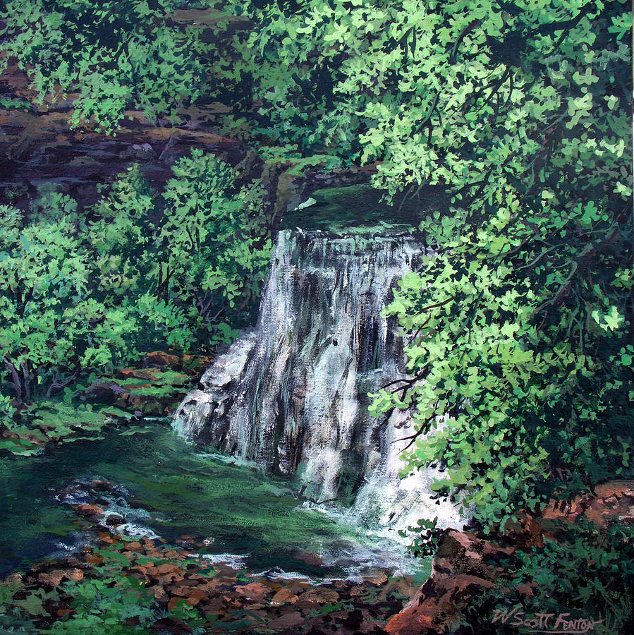 Nature Painting - Burgess Falls State Park Tn. by W  Scott Fenton