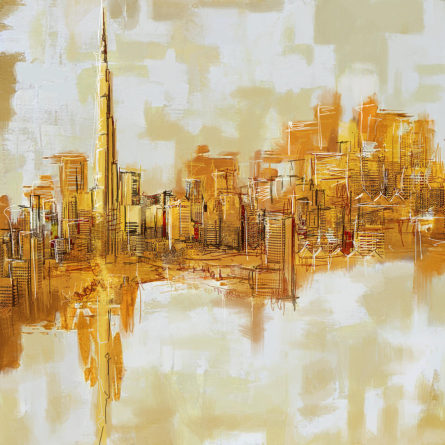Burj Khalifa Skyline Painting By Corporate Art Task Force