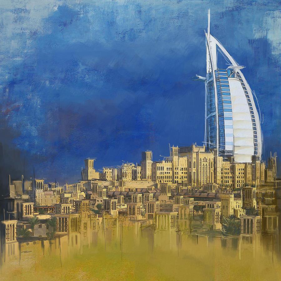 Dubai Buildings Painting - Burj Ul Arab Contemporary by Corporate Art Task Force