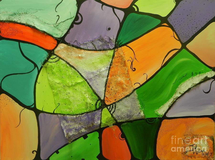 Burlap Painting - Burlap Three by Juan Molina