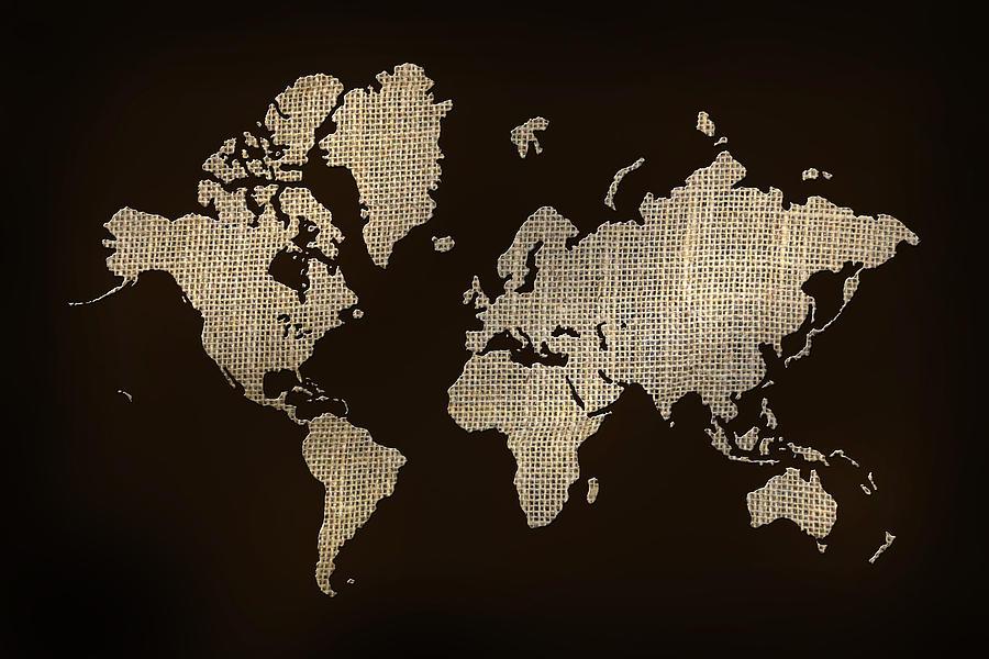 Burlap World Map Photograph by Lori Deiter