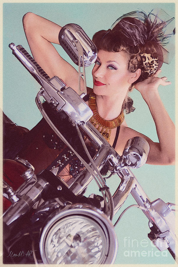 Burlesque Photograph - Burlesque Biker -portrait by MAD Art and Circus