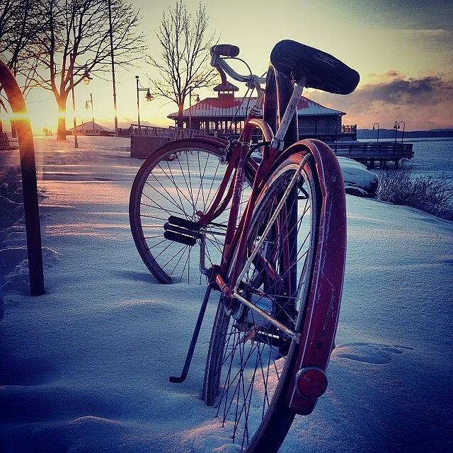 Vermont Photograph - #burlington #bike #vermont #sunset #sun by Call Me Kay
