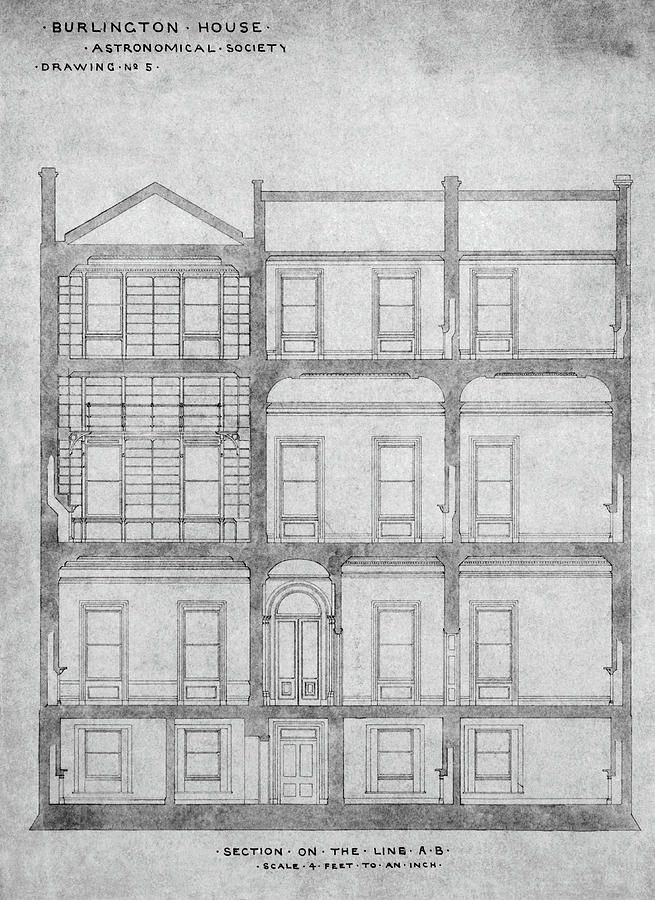Drawing Photograph - Burlington House Architectural Plans by Royal Astronomical Society/science Photo Library